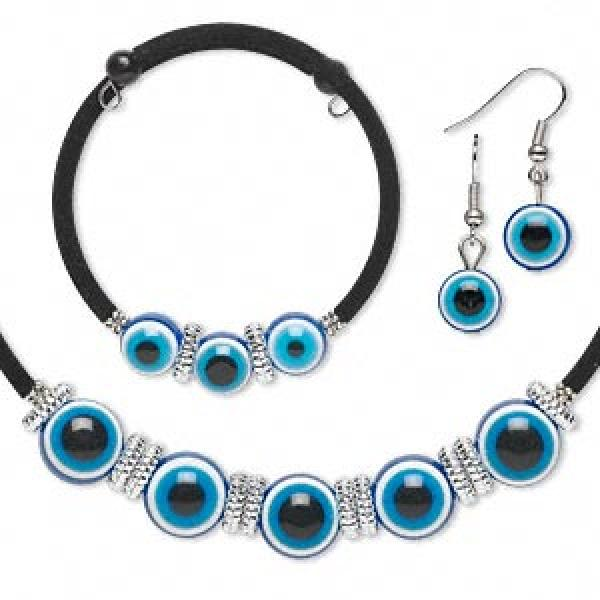 Blue Evil Eye Choker, Bracelet And Earrings Set